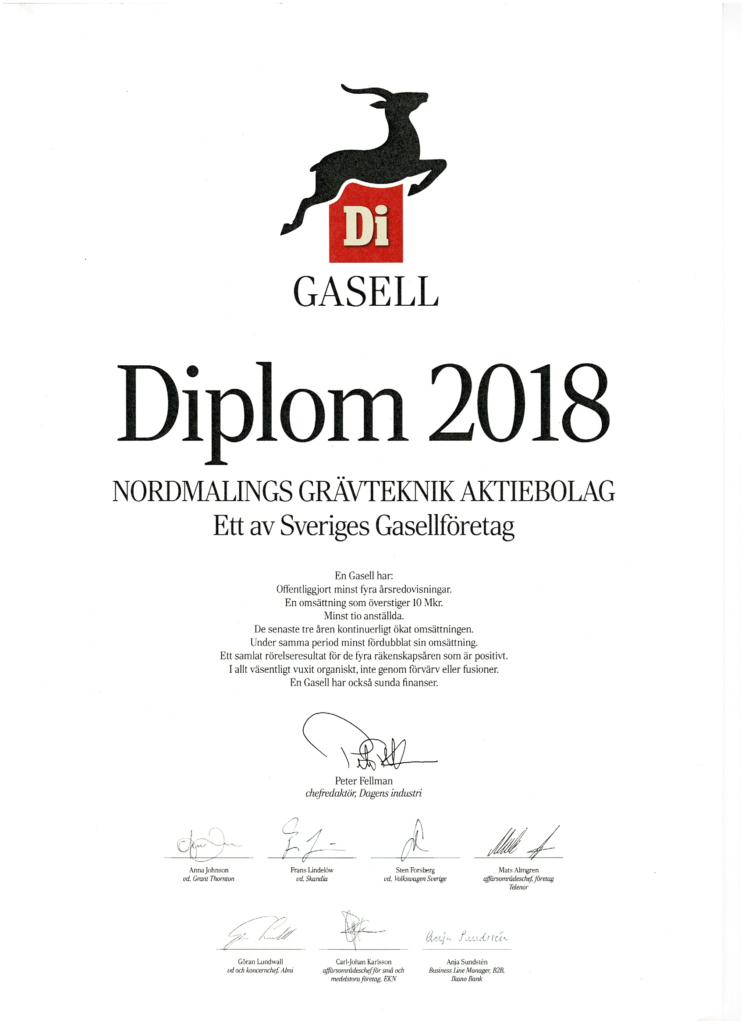 Gasell Diplom Nordmalings Gävteknik